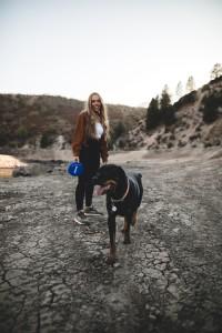 girl dog walking